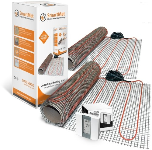 SmartMat 100w/m2 16.0m2 1600w Underfloor Heating Kit + Aube TH232 Thermostat